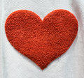 Red heart cloth background with Royalty Free Stock Images