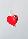 Red heart clothespin for valentine Stock Photography