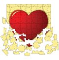 The red heart collected from puzzles Royalty Free Stock Photo
