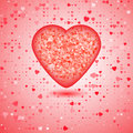 Red heart consisting of pieces of of mosaic amid a plethora hearts of different sizes Stock Photos