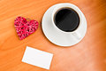 Red heart and cup of coffee Stock Photo