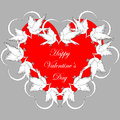 A red heart decorated with flying white doves and smaller hearts valentines day background vector art illustration Stock Photo
