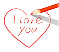 Red heart drawn with pencil i love you words over a white sheet of paper Royalty Free Stock Photography