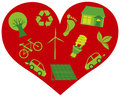 Red Heart with Eco Friendly Icons Illustration Stock Photo