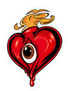 Red heart with eye Stock Images