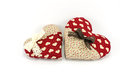 Red Heart family with white and brown bows on white background Royalty Free Stock Photo