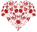 Red Heart with Filigree Ornament Stock Photos
