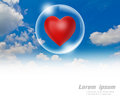 Red heart floating in a bubble the sky Royalty Free Stock Images
