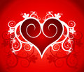 Red heart on a flower ornament Royalty Free Stock Image