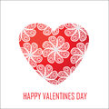 Red heart with flowers for valentine s day for design and for o other purposes isolated Stock Image