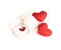 Red heart and gift box isolated on a white background Stock Image