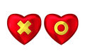 Red heart with gold cross and circle Royalty Free Stock Photo