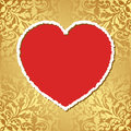 Red heart golden background with vector illustration Royalty Free Stock Photography