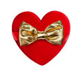 Red heart with golden bow Stock Photos