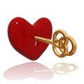 Red heart with golden key d reflection over white love concept Stock Photography