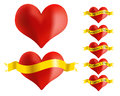 Red heart with golden ribbon illustration set of icons Stock Photo