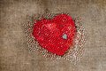 Red heart, gray heart many small transparent pearl Royalty Free Stock Photo