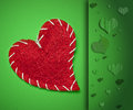Red heart on green background Royalty Free Stock Photos