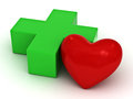 Red heart and green plus sign Royalty Free Stock Images
