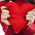 Red heart in hands st valentine concept Royalty Free Stock Images