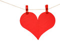 Red heart hang clothespin isolated white background Royalty Free Stock Image