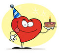 Red Heart Holding A Birthday Cake Royalty Free Stock Photo