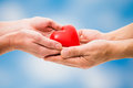 Red heart in human hands on blue sky background Royalty Free Stock Image