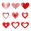 Red heart icon set of 9. Flat isolated vector symbol collection on a white background.
