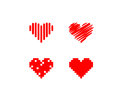 Red heart icons abstract hearts isolated on white Royalty Free Stock Photography