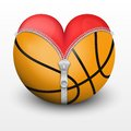 Red heart inside basketball ball symbol of love for the sport vector illustration Stock Images