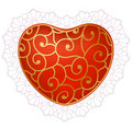 Red heart with lace Royalty Free Stock Photo