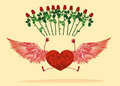 Red heart with legs and beautiful wings. bounced and Raise