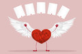 Red heart with legs and wings. Raise your hands up and tossed Royalty Free Stock Photo