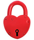 Red heart lock padlock romance love valentine day concept large isolated macro closeup studio shot Royalty Free Stock Images