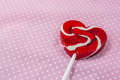 Red heart lollipop concept love valentine on table Royalty Free Stock Image