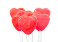 Red Heart Lollipops Stock Photo
