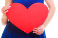 Beautiful Blond Woman with Red Heart. Beauty Girl. Show Love Symbol. Valentine's Day. Black Dress
