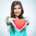 Red heart love symbol portrait of beautiful woman hold valent valentine day isolated studio background female model girl Stock Images