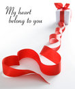Red heart made of ribbon Royalty Free Stock Photography