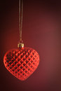 Red heart ornament hanging with background Royalty Free Stock Photography