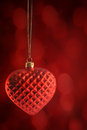 Red heart ornament hanging background Royalty Free Stock Images
