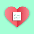 Red Heart Paper Sticker With Shadow Valentine day vector illustration Postcard