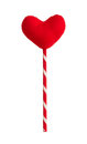 Red heart pillow on sticks isolated on white Royalty Free Stock Photo