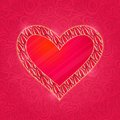 Red heart with pink petal frame card Royalty Free Stock Image