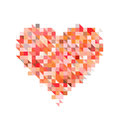 Red heart from pixel particle on white backgrounds a Stock Photos