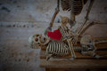 Red heart placed on human bones.
