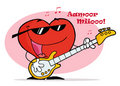 Red Heart Playing A Guitar With Musical Notes Royalty Free Stock Photo