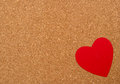 Red heart on pressured cork background love texture valentines day card concept Royalty Free Stock Photo