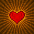 Red heart with rays on a grunge  background Stock Image