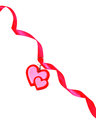 A red heart is in a  ribbon Stock Image